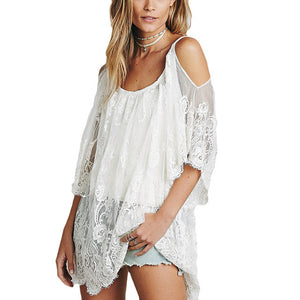 Women Beach Dress Sexy Strap Sheer Floral Lace Embroidered Crochet Summer Dresses Boho Dress