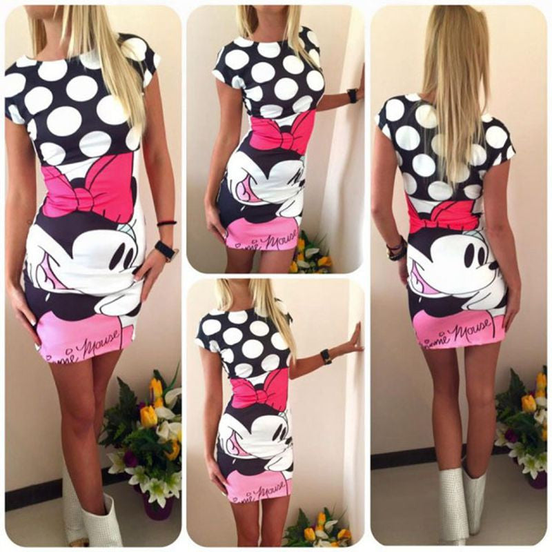 84094361c63 2017 Spring Summer New Arrival Women Dress S-3XL Mickey Mouse Minnie Mouse  Print Short Sleeve Cute Bodycon Sheath Vintage Sexy Party Dresses