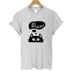 100% Cotton Meow Print Women T shirt Cat Casual Funny Shirt Lady Top Tee