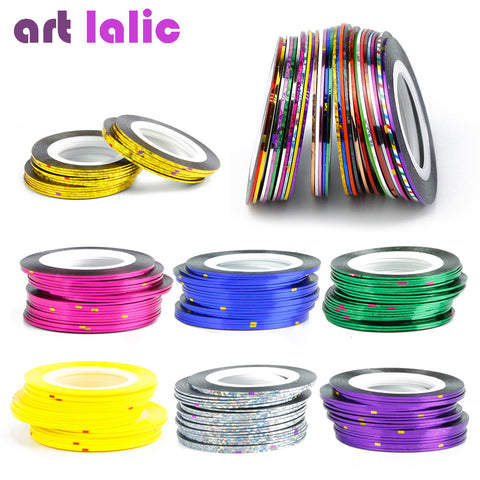 30Pcs 30 Multicolor Mixed Colors Rolls Striping Tape Line Nail Art Decoration Sticker DIY Nail Tips-Hot Sale Products free ship to worldwide