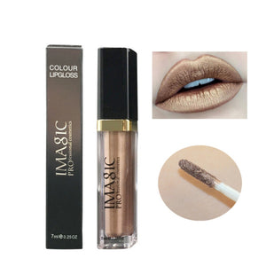 Shimmer Liquid Lipstick Professional Waterproof Matte Lipstick Metal Style Gold Nude Red Lip Makeup
