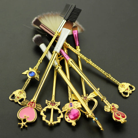 8pcs Sailor moon jewelry Makeup cosmetic brush set pincel maquiagem Golden metal moon crystal Women-Hot Sale Products free ship to worldwide