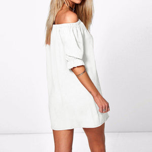 Sexy Off Shoulder Mini Party Dress Casual Loose Half Sleeve Strapless Dresses Long Tops Plus Size