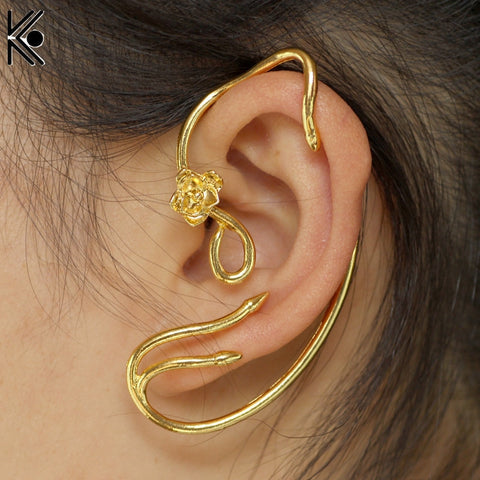 Beauty and the Beast Earrings Ear Cuff Belle Jewelry Gold Color Rose Earrings Fairy Tale Movie-Hot Sale Products free ship to worldwide