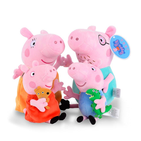 19-30cm hot sale 4PCS/Lot Plush Toy Peppa Pig Family stuffed Doll Gift-Hot Sale Products free ship to worldwide