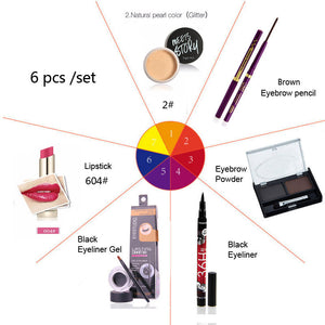 6PCS Set Eye Makeup and Lip Makeup powder Eyeliner Lipstick Professional Makeup Set Cosmetics Tool