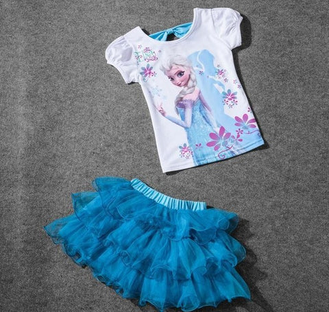 Girls Frozen Queen Elsa Princess Dress + T shirt 2 Pcs Set 3-8Age Sky Blue Layered Tutu Dress Sets-Hot Sale Products free ship to worldwide