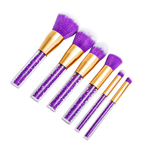 New Style Violet Crystal Diamond Makeup Brushes Powder Foundation Eyebrow Professional Face Make Up Brush Set Cosmetic Tool kit