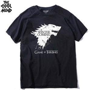 Stark cotton short sleeve Game of Thrones Men T-shirt WINTER IS COMING tees