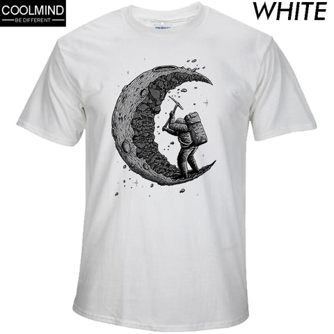 cotton digging the moon print casual mens o-neck t shirts fashion short sleeve-Hot Sale Products free ship to worldwide