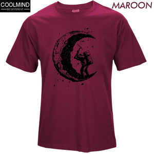 cotton digging the moon print casual mens o-neck t shirts fashion short sleeve