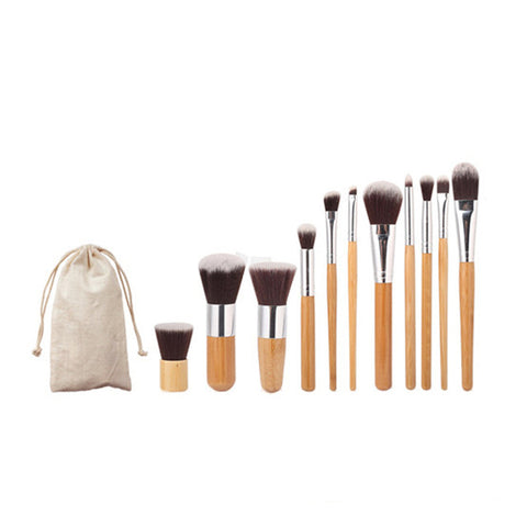 11pcs Natural Bamboo Makeup Brushes with Bag Professional Cosmetics Eyeliner Brush Kit Soft Kabuki Foundation Blending Tool-Hot Sale Products free ship to worldwide