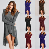 Winter Sweater Dress Vestidos 2018 Women Ladies Knitted Casual Long Sleeve Asymmetric Hem Mid-calf Dresses Plus Size 3XL-Hot Sale Products free ship to worldwide