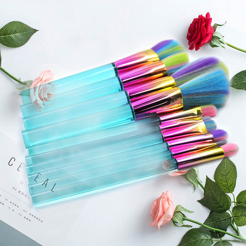 10pcs Makeup Brushes Colorful Hair Blue Purple Transparent Handle Eyeshadow Powder Foundation Brushes Crystal Make up Brushes