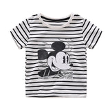 Infant Boys Girls Summer Cartoon Mickey Mouse Striped T Shirt + Denim Shorts Clothes Sets Children Kids Hole Jeans Clothing-Hot Sale Products free ship to worldwide
