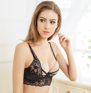 Sexy Thong lady push up Lace hollow out bralette underwear panty intimates bra brief set