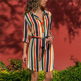 Long Sleeve Shirt Dress 2019 Summer Chiffon Boho Beach Dresses Women Casual Striped Print A-line Mini Party Dress Vestidos-Hot Sale Products free ship to worldwide