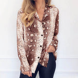 Women Blouses Summer Long Sleeve Chiffon Blouse Snake Skin Pint Tops Turn Down Collar Elegant Office Shirt Tunic Camisa Feminina-Hot Sale Products free ship to worldwide