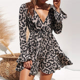 2019 Summer Chiffon Dress Women Leopard Print Boho Beach Dresses Casual Ruffle Long Sleeve A-line Mini Party Dress Vestidos-Hot Sale Products free ship to worldwide