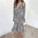 Summer Long Dresses 2019 Women Zebra Print Beach Chiffon Dress Casual Long Sleeve V Neck Ruffles Elegant Party Dress Vestidos-Hot Sale Products free ship to worldwide