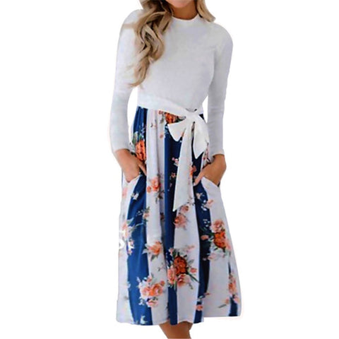 Women Spring Dress 2019 Vintage Floral Print Patchwork Dress Casual O-neck Bandage Dress Ladies Elegant Party Dresses Vestidos-Hot Sale Products free ship to worldwide
