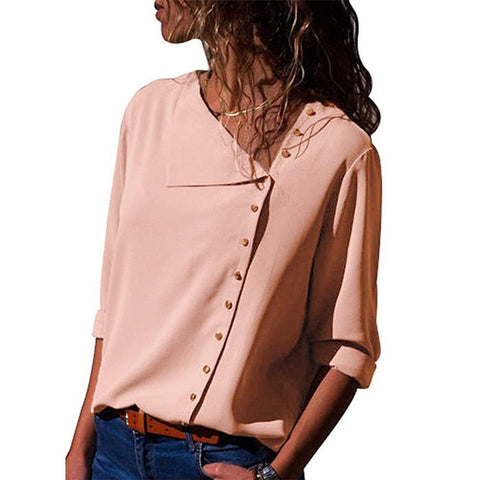 Chiffon Blouse 2019 Fashion Long Sleeve Women Blouses and Tops Skew Collar Solid Office Shirt Casual Tops Blusas Chemise Femme-Hot Sale Products free ship to worldwide