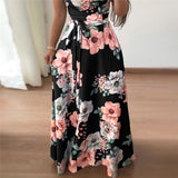 Summer Dress 2019 Women Boho Floral Print Maxi Dress Short Sleeve Turtleneck Bandage Elegant Long Dresses Vestidos de fiesta-Hot Sale Products free ship to worldwide