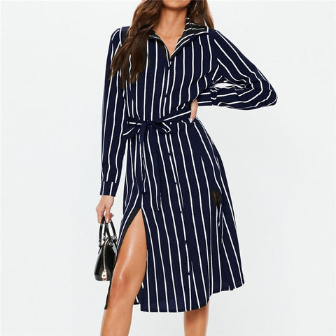 Women Long Dress Summer Striped Chiffon Beach Dress Casual Tunic Long Sleeve Office Shirt Dress Elegant Party Dress Vestidos-Hot Sale Products free ship to worldwide