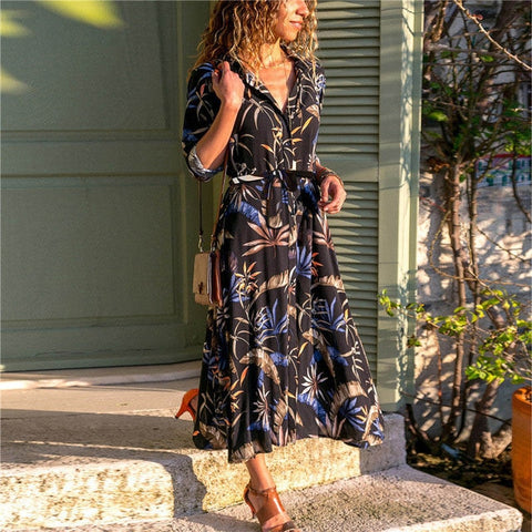 Summer Long Dress Women Floral Print Boho Chiffon Dress Long Sleeve Turn Down Collar Shirt Dress Ladies Casual Dresses Vestidos-Hot Sale Products free ship to worldwide