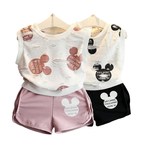 Summer Style Girls Clothing Sets Cartoon Minnie Mickey Mouse Print T-shirt+Short 2Pcs for Kids Clothes 3-7Y-Hot Sale Products free ship to worldwide