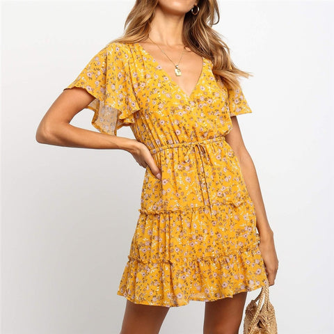 Summer Beach Dress Boho Style Women Floral Print Chiffon Dress 20019 Sexy V-neck Short Sleeve A-line Mini Party Dress Vestidos-Hot Sale Products free ship to worldwide