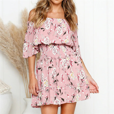 Summer Dress 2019 Women Boho Style Floral Print Chiffon Beach Dress Sexy Off Shoulder Elegant Mini Party Dress Sundress Vestidos-Hot Sale Products free ship to worldwide