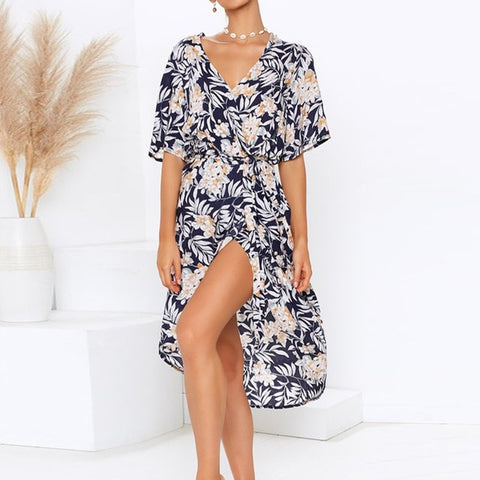 Women Chiffon Long Dress 2019 Summer Boho Floral Print Beach Dress Sexy V-neck Split Party Dress Elegant Sundress Robe Femme-Hot Sale Products free ship to worldwide