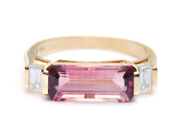 Pink Tourmaline & Diamond East West Ring