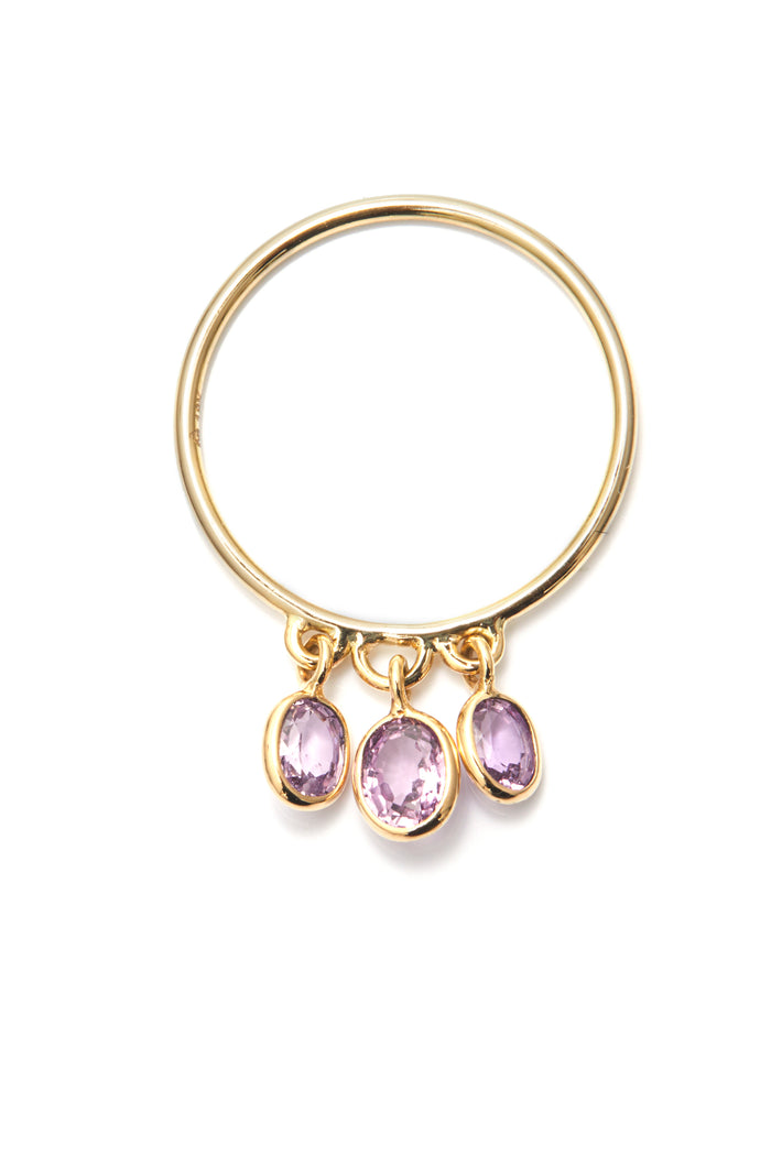 Pink Sapphire Triplet Drops Ring