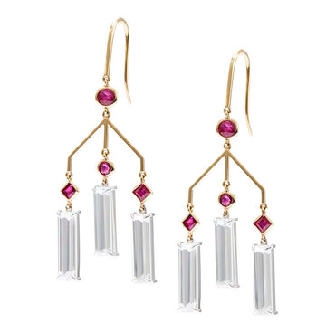 Ruby & Topaz Wind Chime Earrings