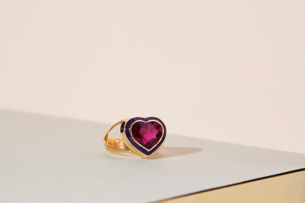 Rubellite & Purple Enamel Heart Ring