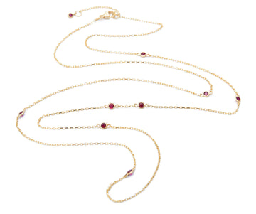 Long Ruby Dot Necklace