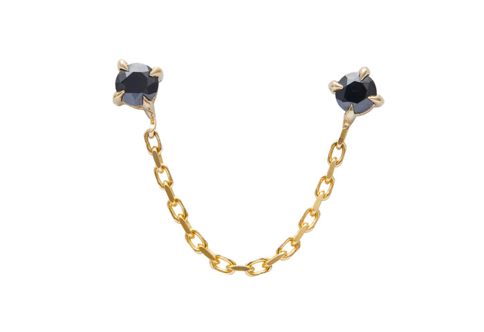 Black Diamond Linked Chain Earring