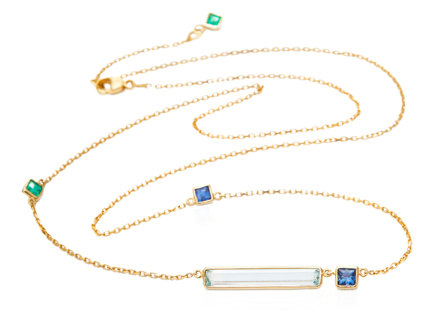 Aquamarine With Emerald & Sapphire 'Bar' Necklace