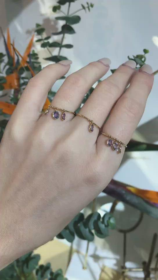 Lilac Spinel Triplet Drops Ring