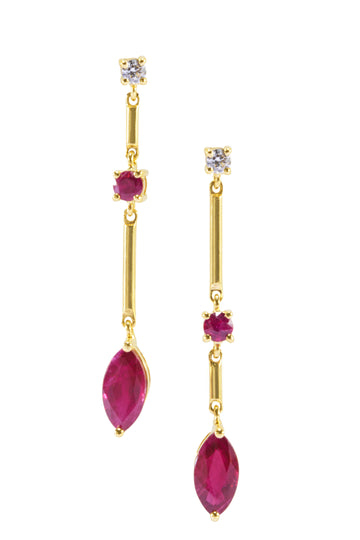 RUBY & DIAMOND MARQUISE EARRINGS