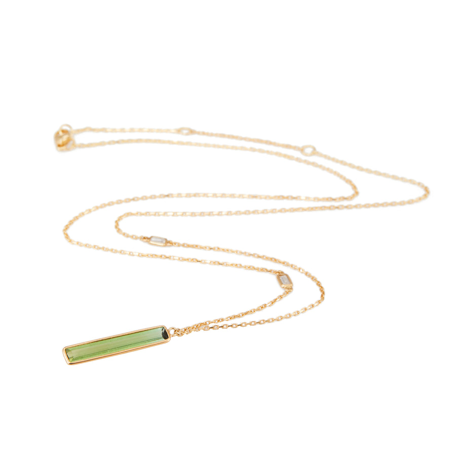 Green Tourmaline & Diamond Bar Necklace