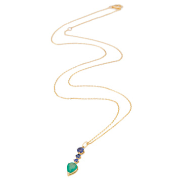 Emerald & Sapphire Arrow Necklace
