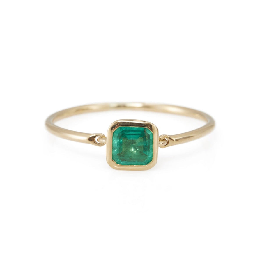Emerald Petite Button Ring