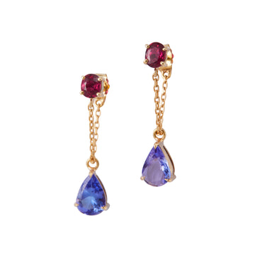 Tanzanite & Ruby Chain Earrings