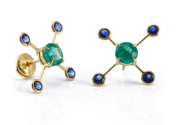 Emerald & Sapphire Supernova Earrings