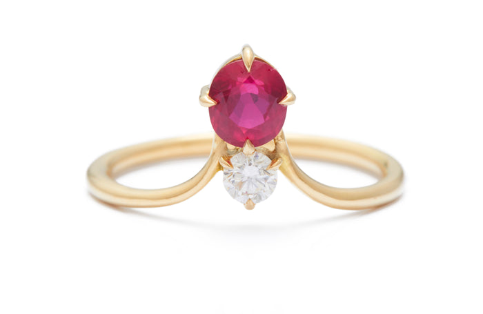 Ruby & Diamond Crown Ring