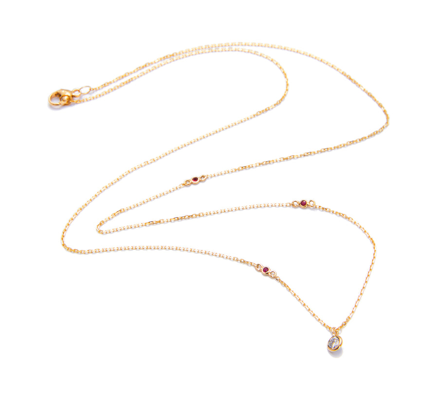 Diamond & Ruby Dot Necklace
