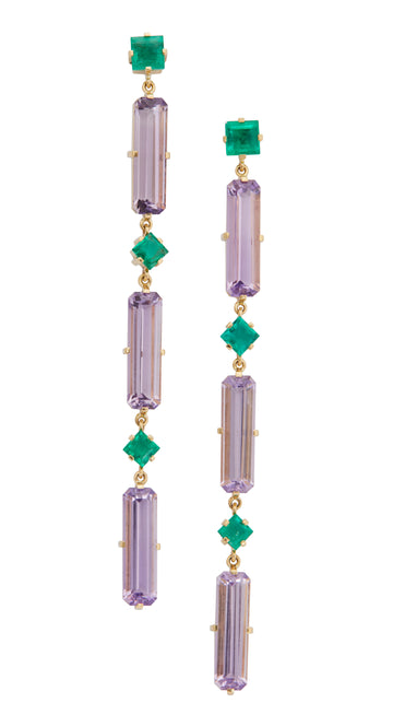 Amethyst & Emerald Cascade Earrings